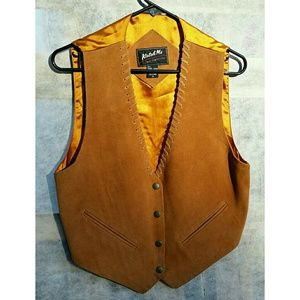 VTG Katch Me Leather & Polyester Vest, sz M